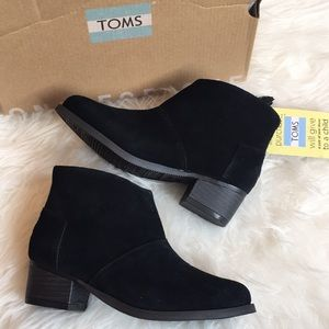 Toms girls black suede Leila booties